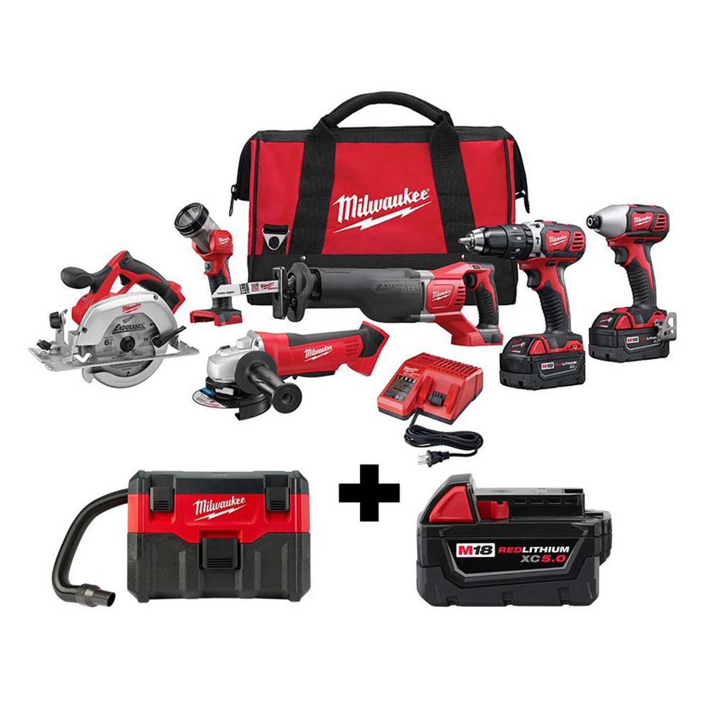 Milwaukee M18 18 Volt Lithium Ion Cordless Combo Tool Kit 6 Tool With M18 Wet Dry Vacuum And 5 0 Ah Battery 2696 26 0880 20 48 11 1850 The Home Depot