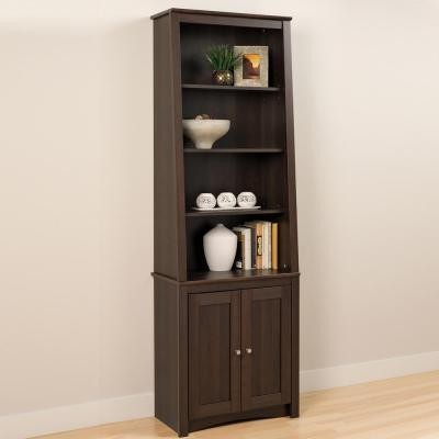 80 in. Espresso Wood 4-shelf Standard Bookcase with Doors