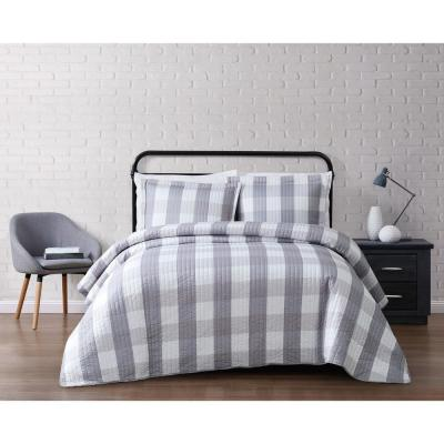 Everyday Buffalo Plaid Grey King Quilt Set