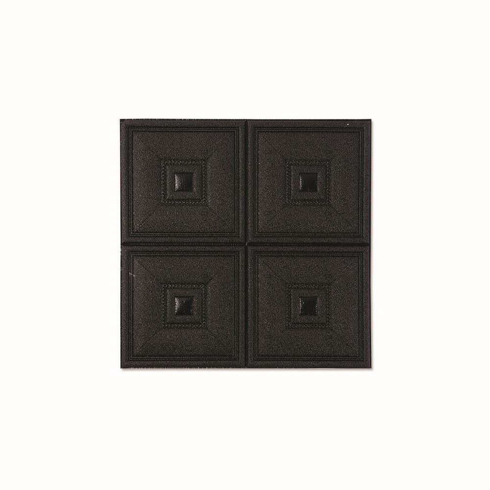 New Black 3D 4SquareBlock PE Foam LeatherLook Sticker For Wall Decor (28 in. x 28 in. per Piece, 10-Piece)