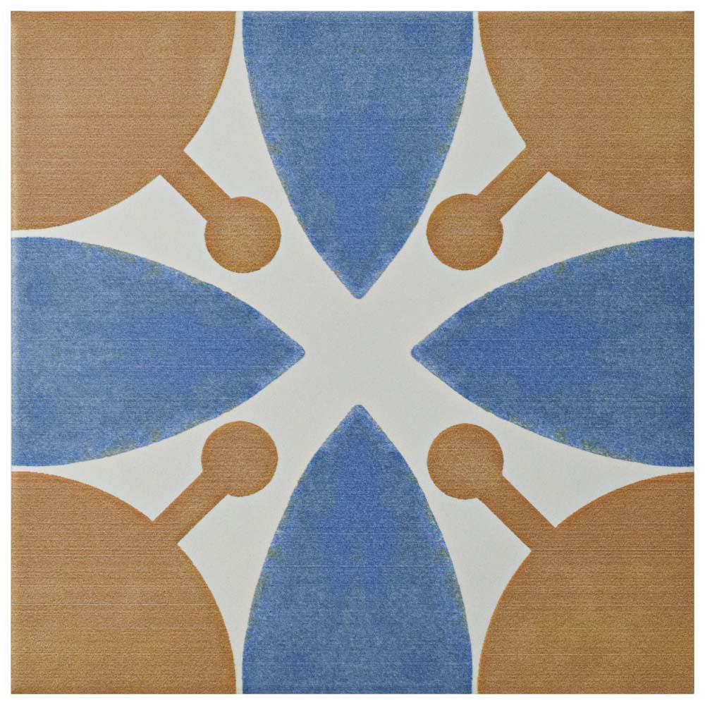 Revival Leaf Encaustic 7-3/4 in. x 7-3/4 in. Ceramic Floor and Wall Tile