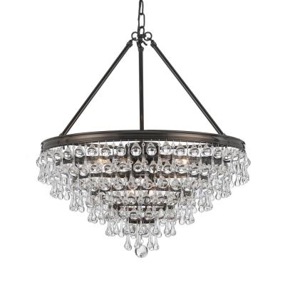 Calypso 8-Light Crystal Teardrop Bronze Chandelier