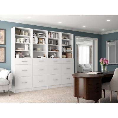 Calabria General Storage 15 in. D x 96 in. W x 84 in. H Glacier White Wood Closet System