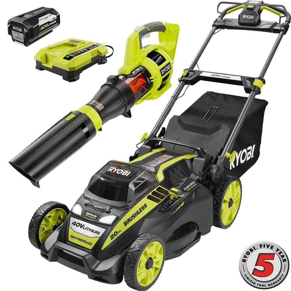 40 Volt Cordless Lithium Ion Self Propelled Mower Jet Fan Leaf Er Combo Kit 5 0 Ah Battery Charger Included