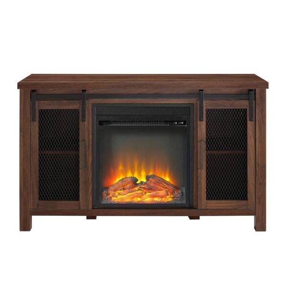 Walker Edison Furniture Company 48 in. Dark Walnut Rustic Farmhouse Fireplace
