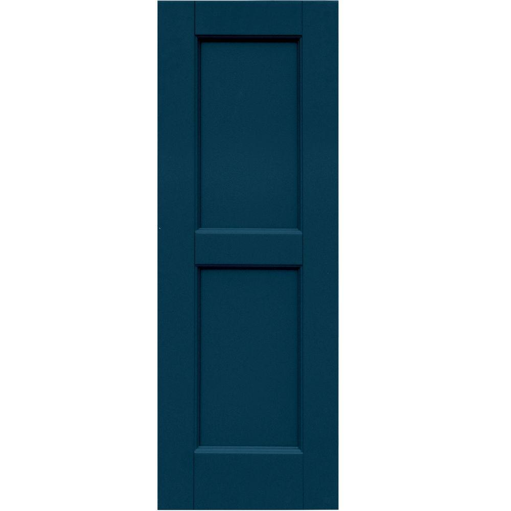 Winworks Wood Composite 12 in. x 34 in. Contemporary Flat Panel Shutters Pair #637 Deep Sea Blue