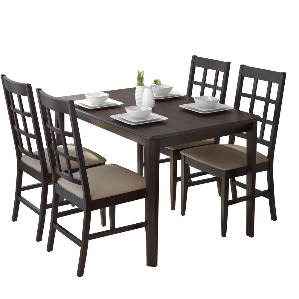 Atwood 5-Piece Dining Set with Taupe Stone Leatherette Chairs
