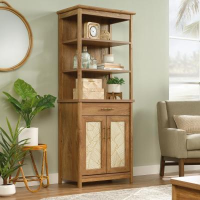 66.96 in. Sindoori Mango Wood 5-shelf Standard Bookcase with Doors
