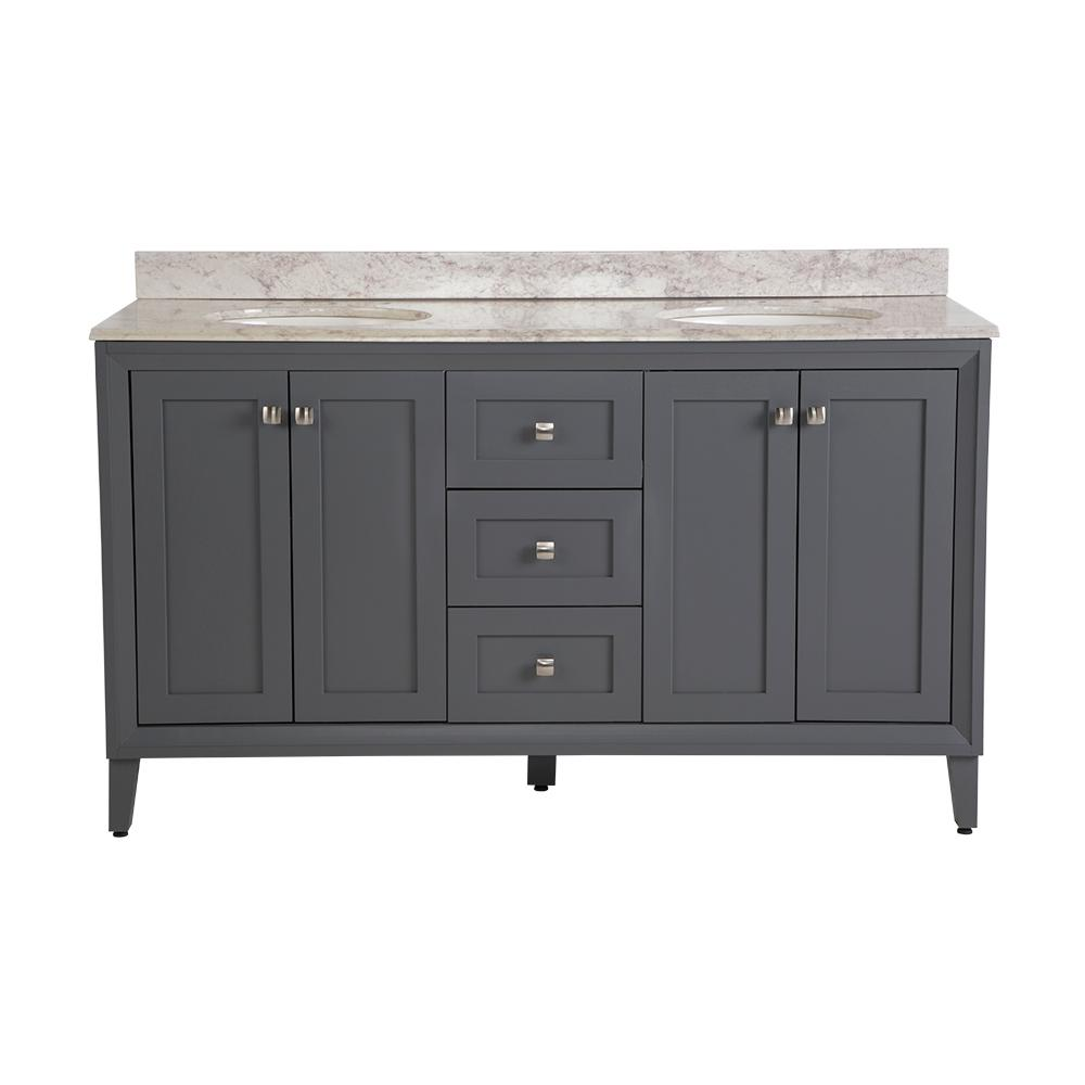 St. Paul Austell 61 in. W x 22 in. D Bath Vanity in Graphite Gray with Stone Effects Vanity Top in Winter Mist with White Sink