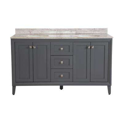 Austell 61 in. W x 22 in. D Bath Vanity in Graphite Gray with Stone Effects Vanity Top in Winter Mist with White Basin
