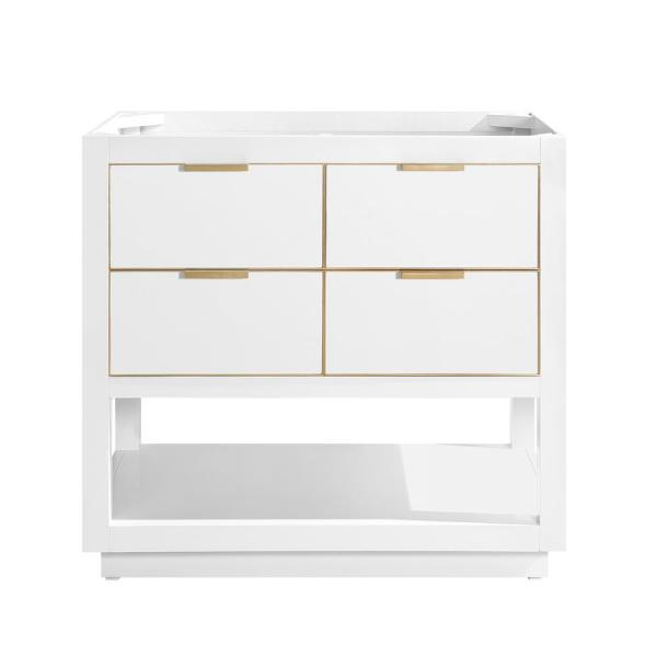 Allie 36 in. Bath Vanity Cabinet Only in White with Gold Trim