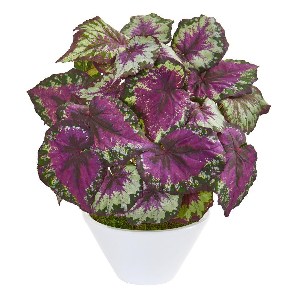 Indoor Begonia Artificial Plant in White Vase