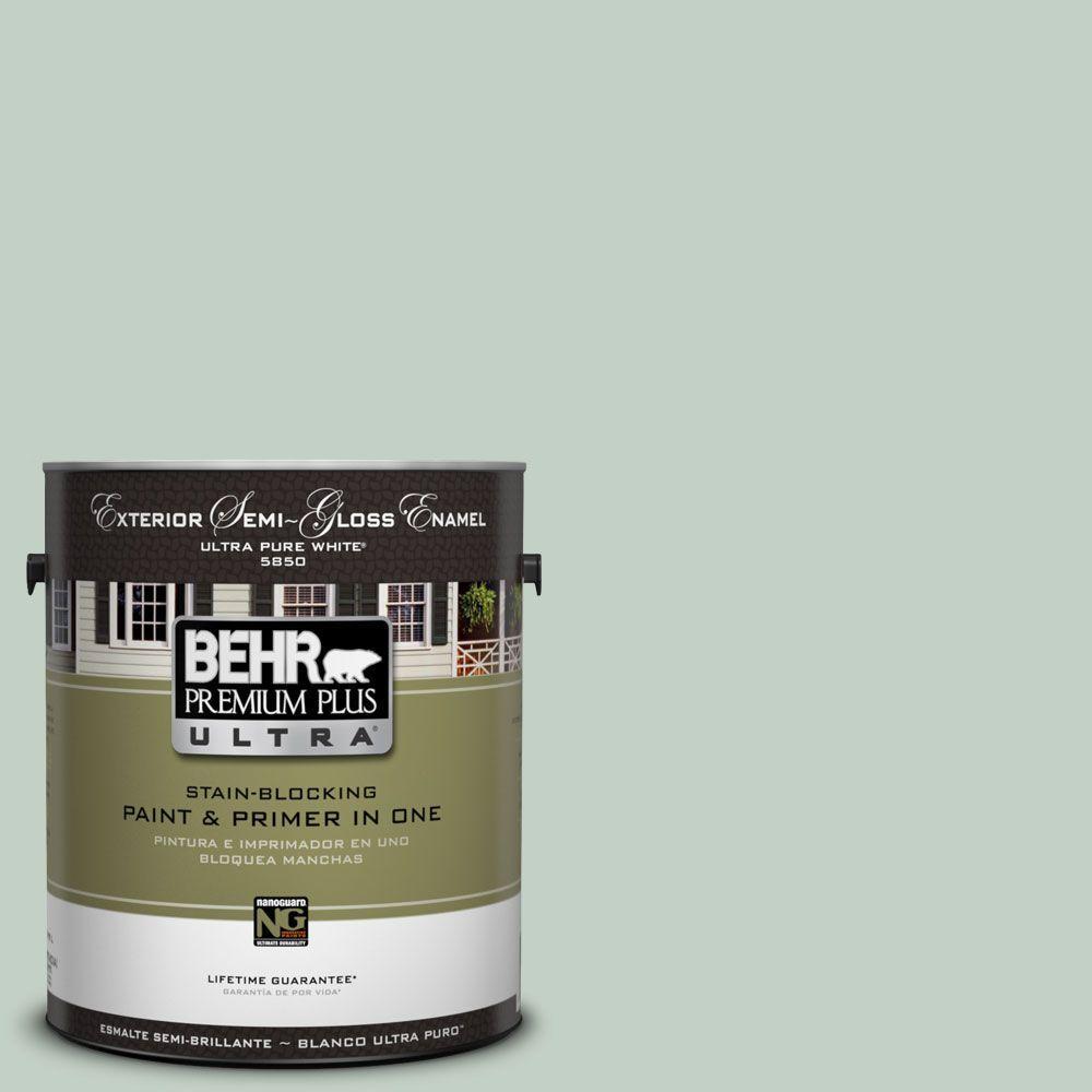 BEHR Premium Plus Ultra 1-gal. #UL220-13 Frosted Jade Semi-Gloss Enamel Exterior Paint