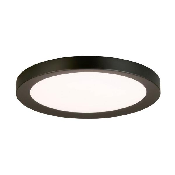 Calloway 19 in. Matte Black Concave Selectable LED Flush Mount