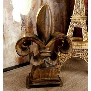 12 inch Fleur-De-Lis Decorative Sculpture in Walnut Brown Carved Wood by