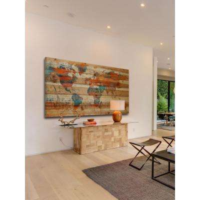 "30 in. H x 60 in. W ""Warm World"" by Marmont Hill Printed Natural Pine Wood Wall Art"