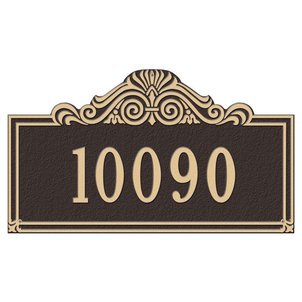 Villa Nova Rectangular Bronze/Gold Estate Wall One Line Address Plaque