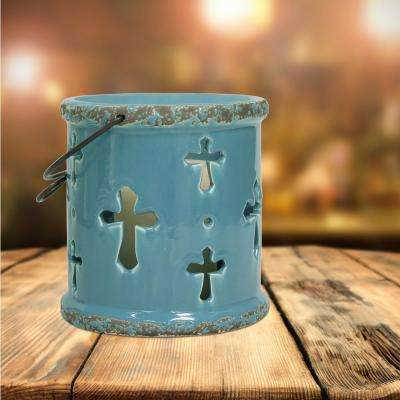 Turquoise Candle Operated Cross Lantern