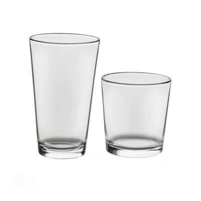Flare 16-Piece Clear Drinkware Glass Set