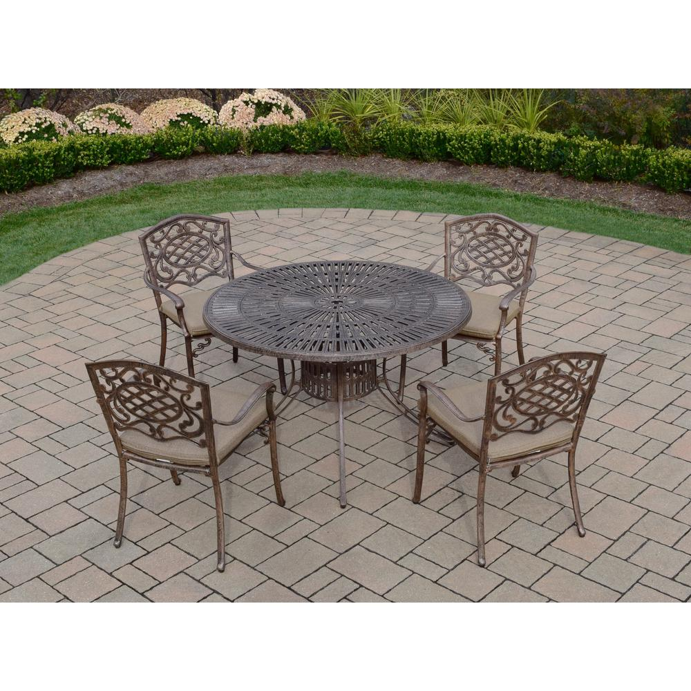 5-Piece Aluminum Outdoor Dining Set with 48 in. Table and 4
