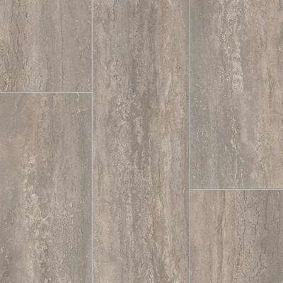 Take Home Sample - Rectangular Travertine Stone Grey Vinyl Sheet - 6 in. x 9 in.