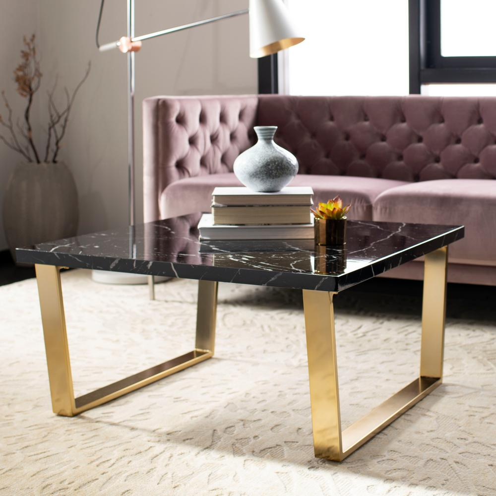 Safavieh carmen black marble brass coffee table