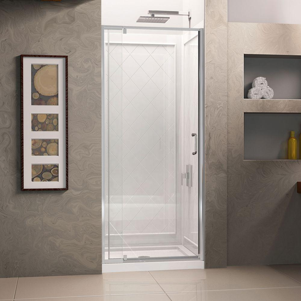 DreamLine Flex 32 in. x 76-3/4 in. Pivot Shower Door in Chrome with Shower Base and Back Wall Kit