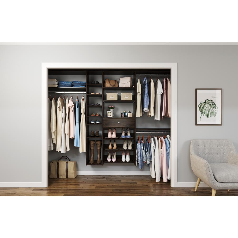 84 in. W - 108 in. W Espresso Wood Closet System