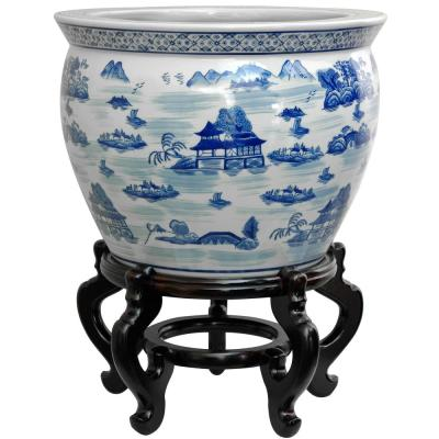 Oriental Furniture 16 in. Landscape Blue and White Porcelain Fishbowl