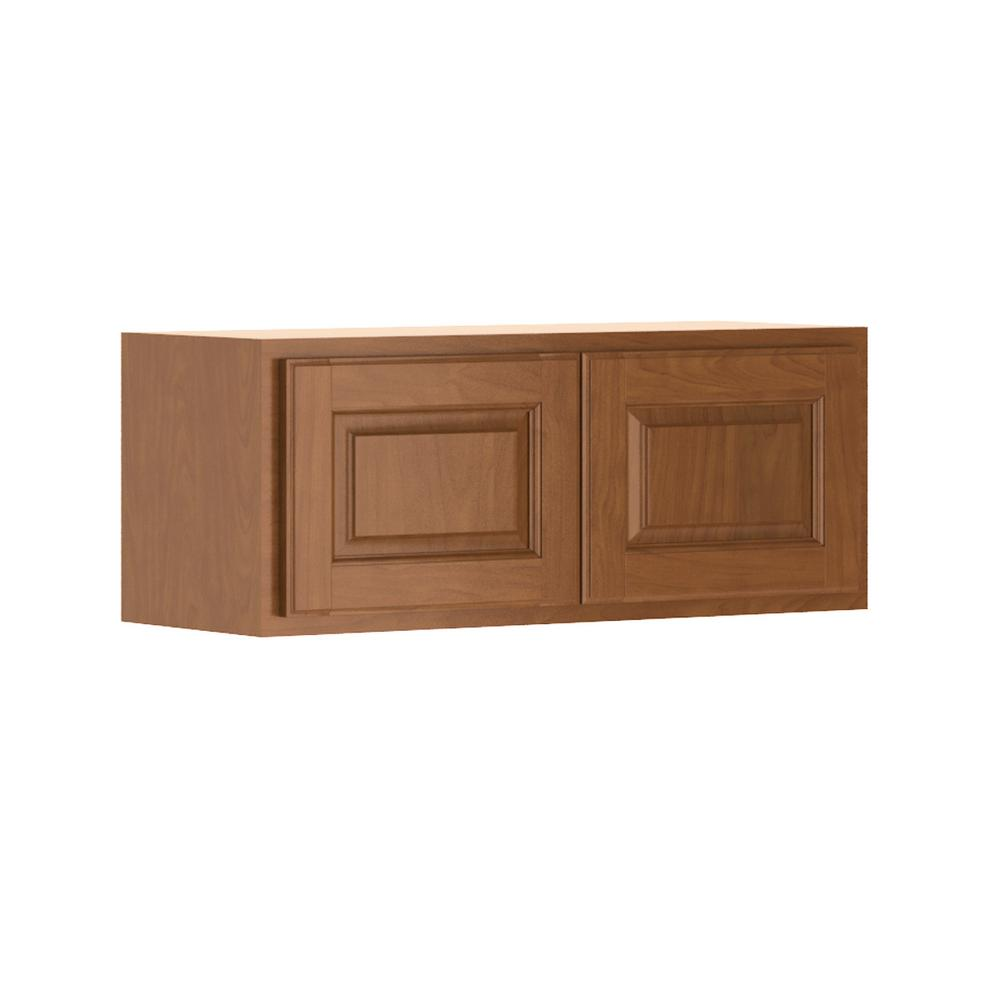 Madison Assembled 30x12x12 in. Wall Bridge Cabinet in Cognac