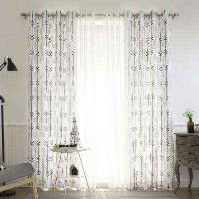 uMIXm White Faux Linen and Sketched Arrow Curtain - 52 in. W x 84 in. L (4-Pack)