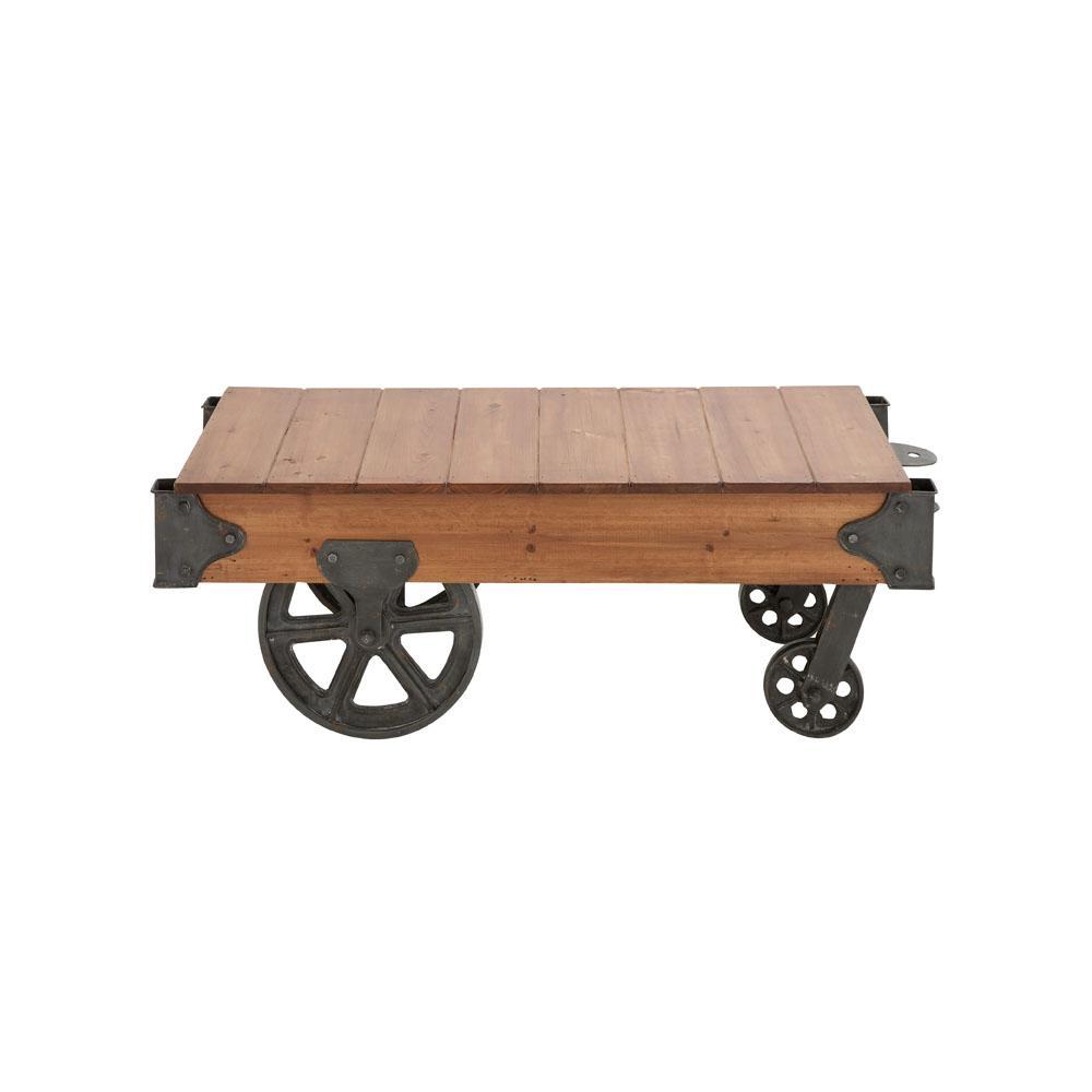 Litton Lane Natural Brown Rectangular Birch Wood Coffee Table Cart with Wheels