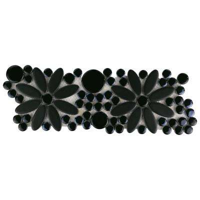 Galaxy Flower Black 4-1/4 in. x 12-3/4 in. x 9 mm Porcelain Border Mosaic Tile