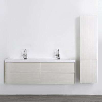 63 in. W x 19.4 in. H Bath Vanity in Gray with Resin Vanity Top in White with White Basin