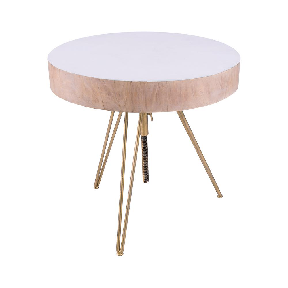 An Lighting Biarritz Natural Wood With Gold Metal Legs Side Table