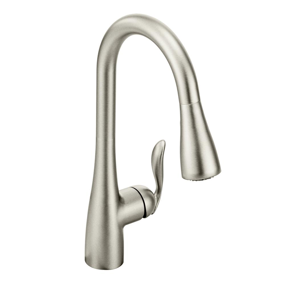 MOEN Arbor Single-Handle Pull-Down Sprayer Kitchen Faucet with Power Boost  in Spot Resist Stainless