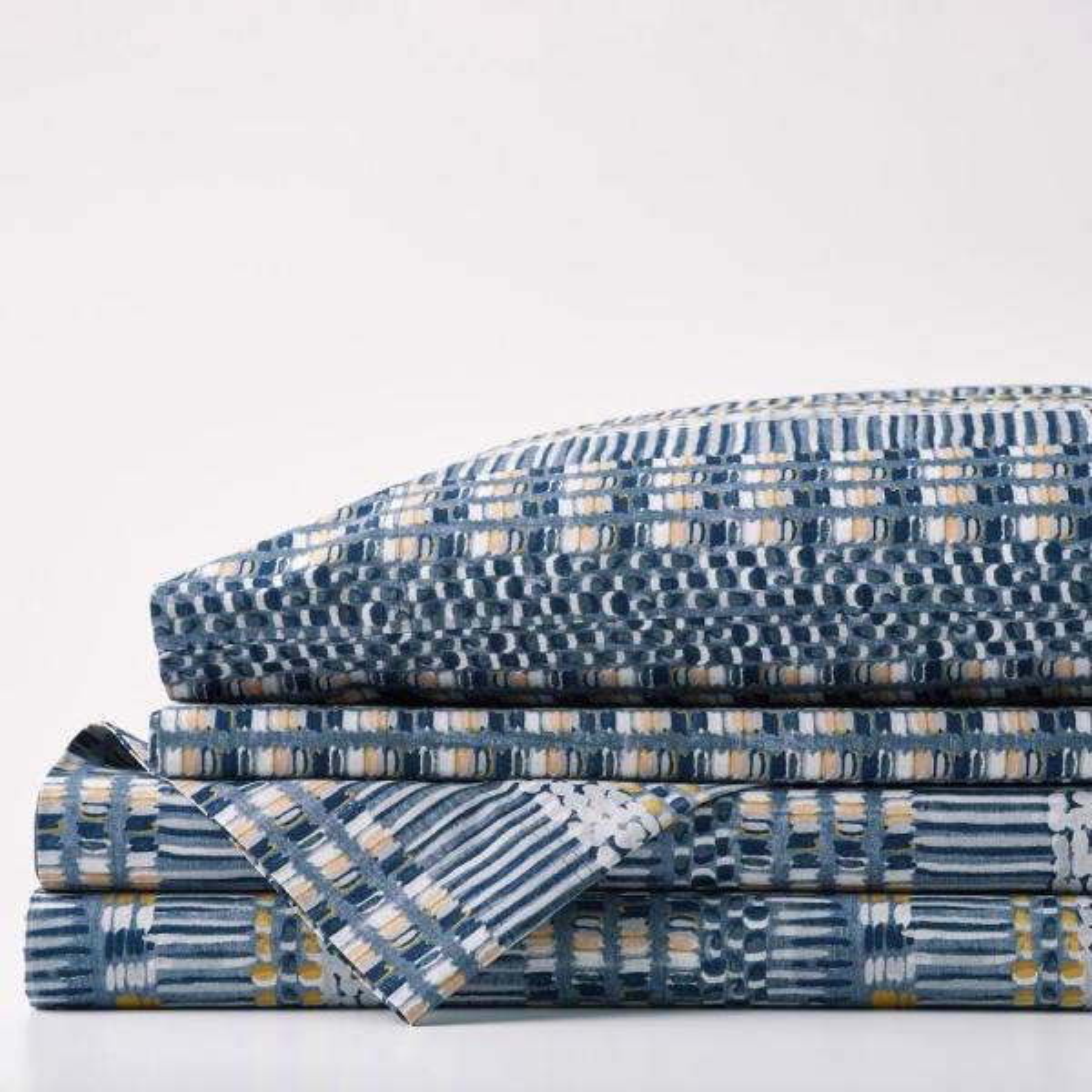 Winding Stripe 3-Piece Multicolored Geometric 200-Thread Count Organic Cotton Percale Twin Sheet Set
