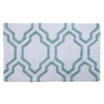 50 in. x 30 in. Bath Rug in White/Arctic Blue