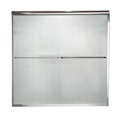 Euro 60 in. x 57 in. Semi-Frameless Sliding Tub Door in Silver with Rain Glass