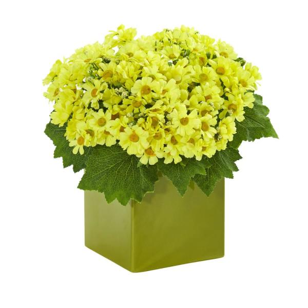 Nearly Natural 1597-YL Mum Artificial Vase Silk Arrangements Yellow
