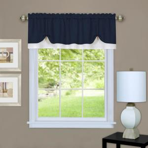 Achim Darcy 14 in L Polyester Valance in Navy/White by Achim