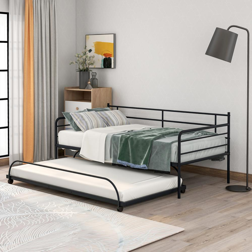 Harper & Bright Designs Simple Design Black Twin Metal Daybed with Trundle was $339.9 now $256.25 (25.0% off)