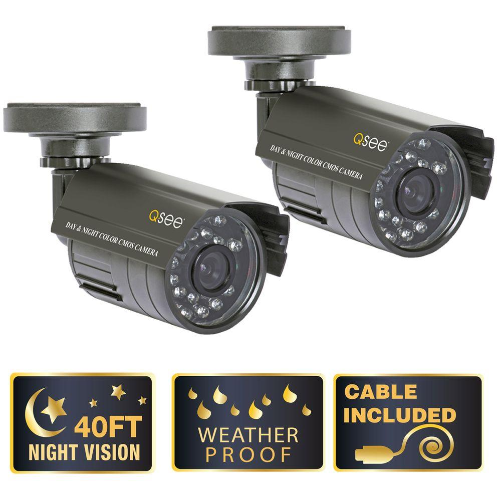 Q-SEE Lite Series 400 TVL CMOS Indoor/Outdoor Bullet Shaped Surveillance Cameras (2-Pack)-DISCONTINUED