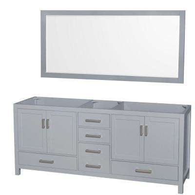 Sheffield 80 in. Vanity Cabinet with Mirror in Gray