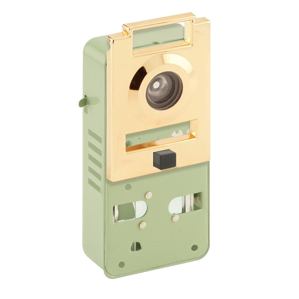 Prime line 200 degree metal brass door viewer with chime u for Door open chime