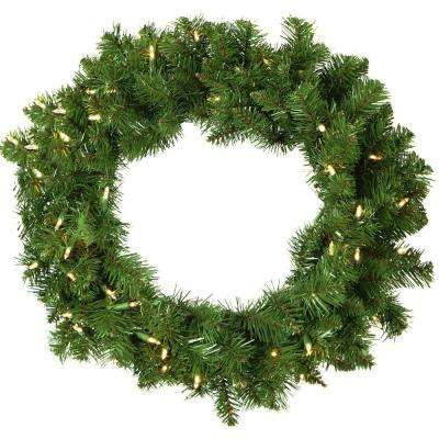 2 ft. Colorado Fir Artificial Holiday Wreath with Battery-Operated Warm LED String Lights