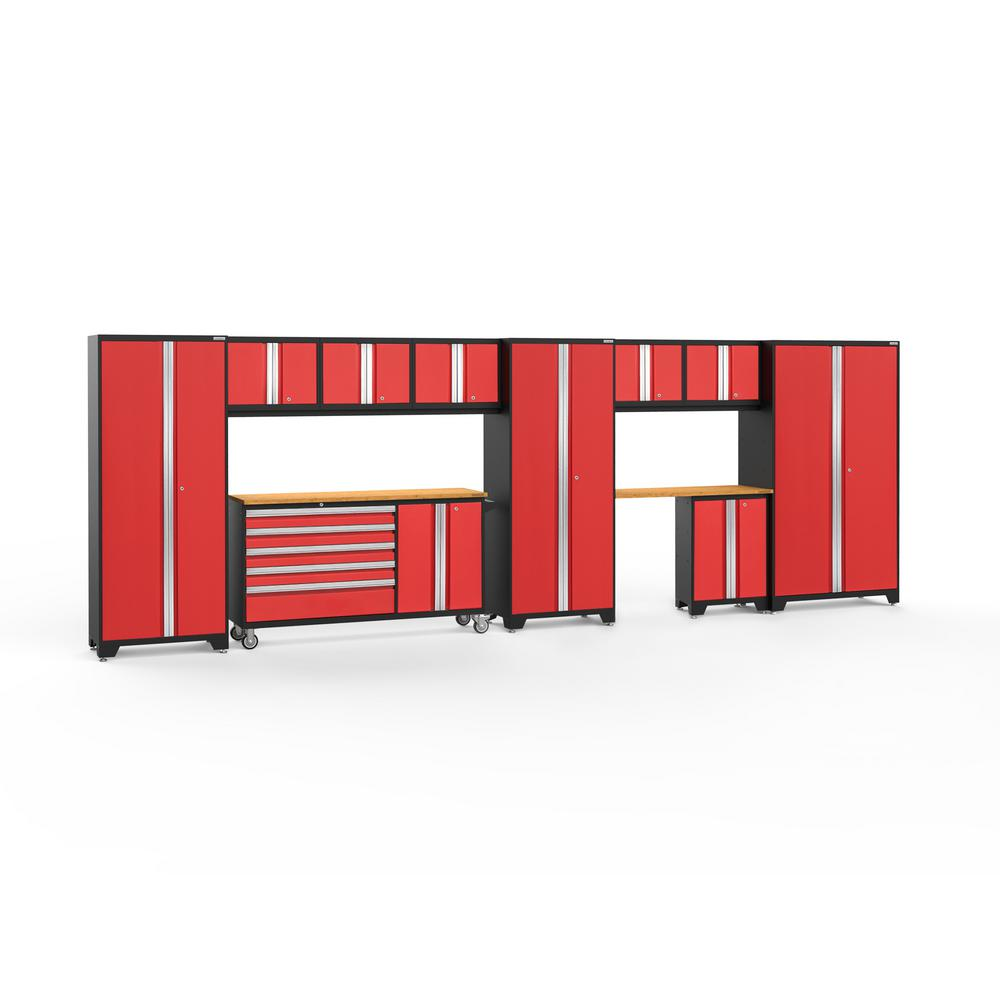NewAge Products Bold Series 222 in. W x 77.25 in. H x 18 in. D 24-Gauge Welded Steel Garage Cabinet Set in Red (11-Piece)