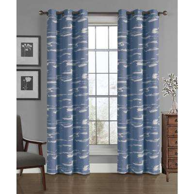 Brush Crushed Microfiber Panel in Moonlight Blue - 40 in. W x 84 in. L