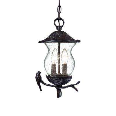 Avian Collection Hanging Outdoor 2-Light Black Coral Light Fixture