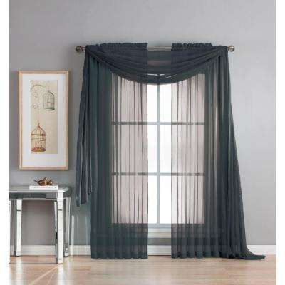 Diamond Sheer Voile 56 in. W x 216 in. L Curtain Scarf in Black